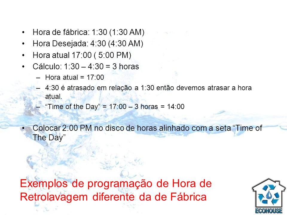 Exemplos de programação de Hora de Retrolavagem diferente da de Fábrica Hora de fábrica: 1:30 (1:30 AM) Hora Desejada: 4:30 (4:30 AM) Hora atual 17:00