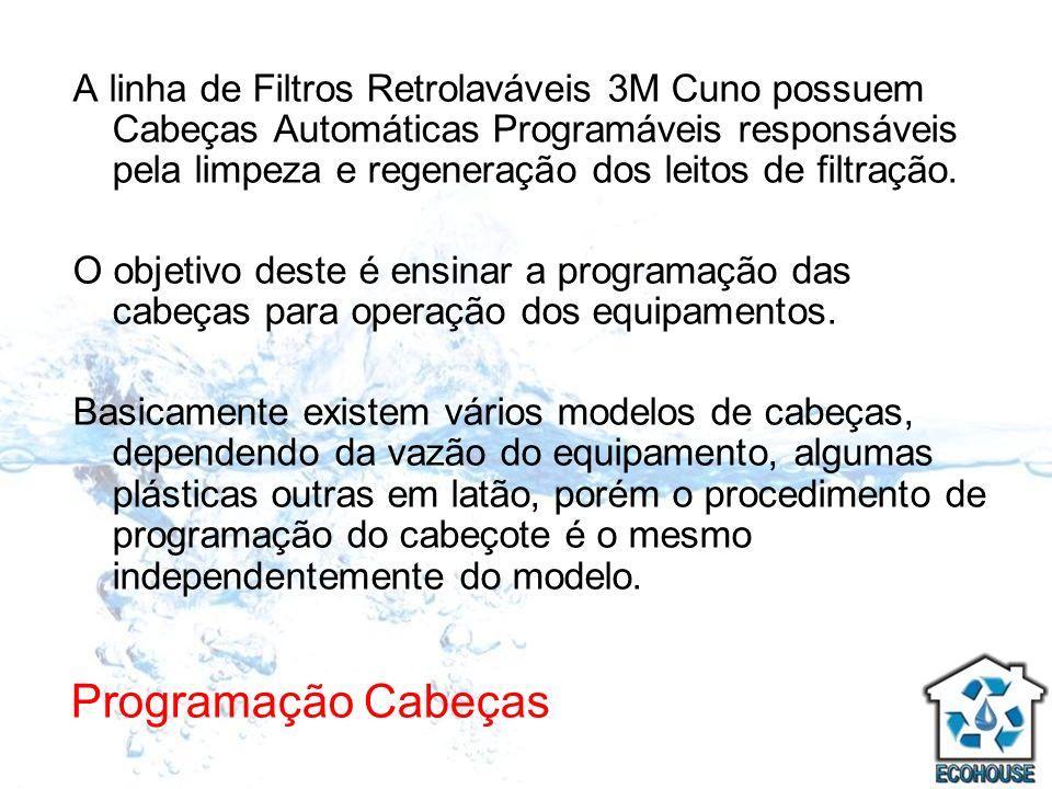 Programação Cabeças A linha de Filtros Retrolaváveis 3M Cuno possuem Cabeças Automáticas Programáveis responsáveis pela limpeza e regeneração dos leit