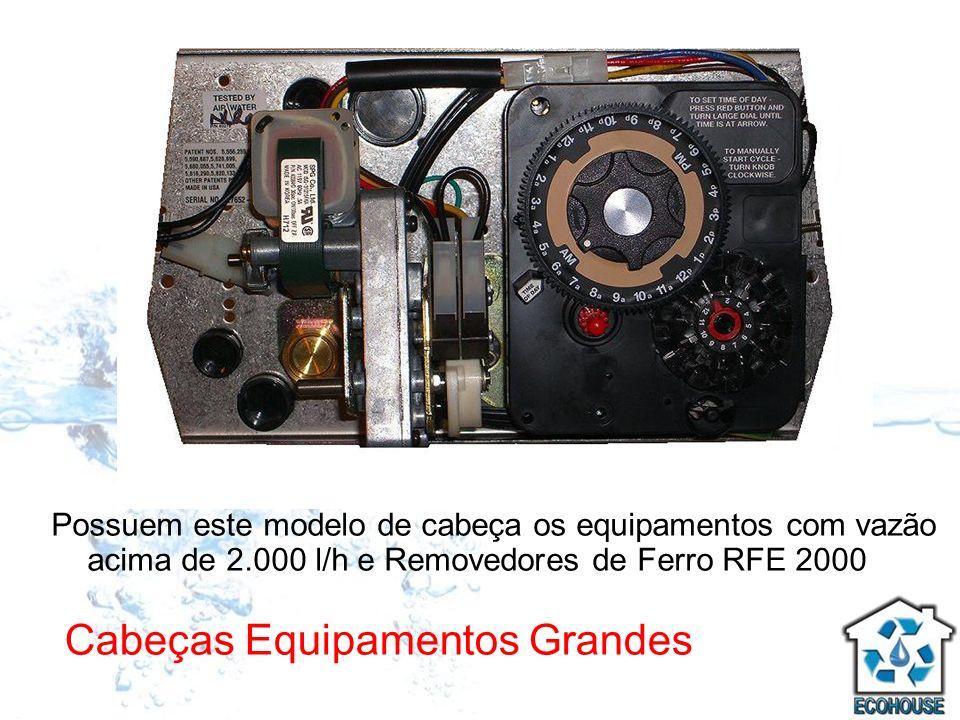 Cabeças Equipamentos Grandes Possuem este modelo de cabeça os equipamentos com vazão acima de 2.000 l/h e Removedores de Ferro RFE 2000