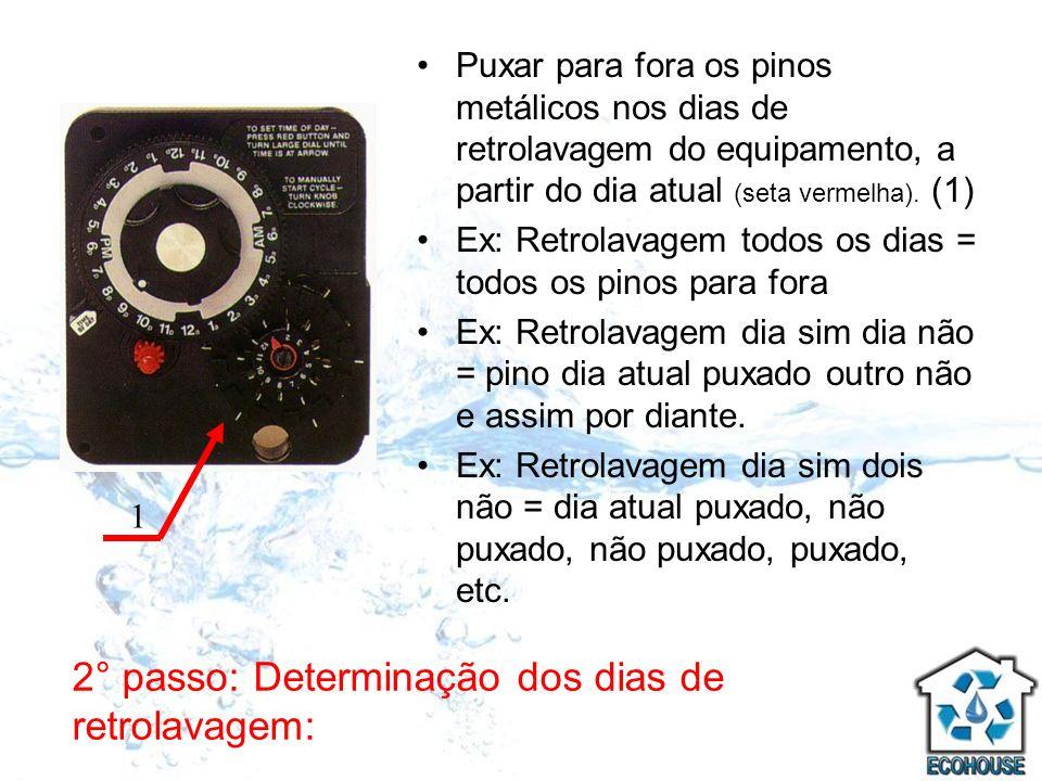 3° passo: Verificação da Hora de Retrolavagem de Fábrica: Apertar o Pino Trava Vermelho (1).