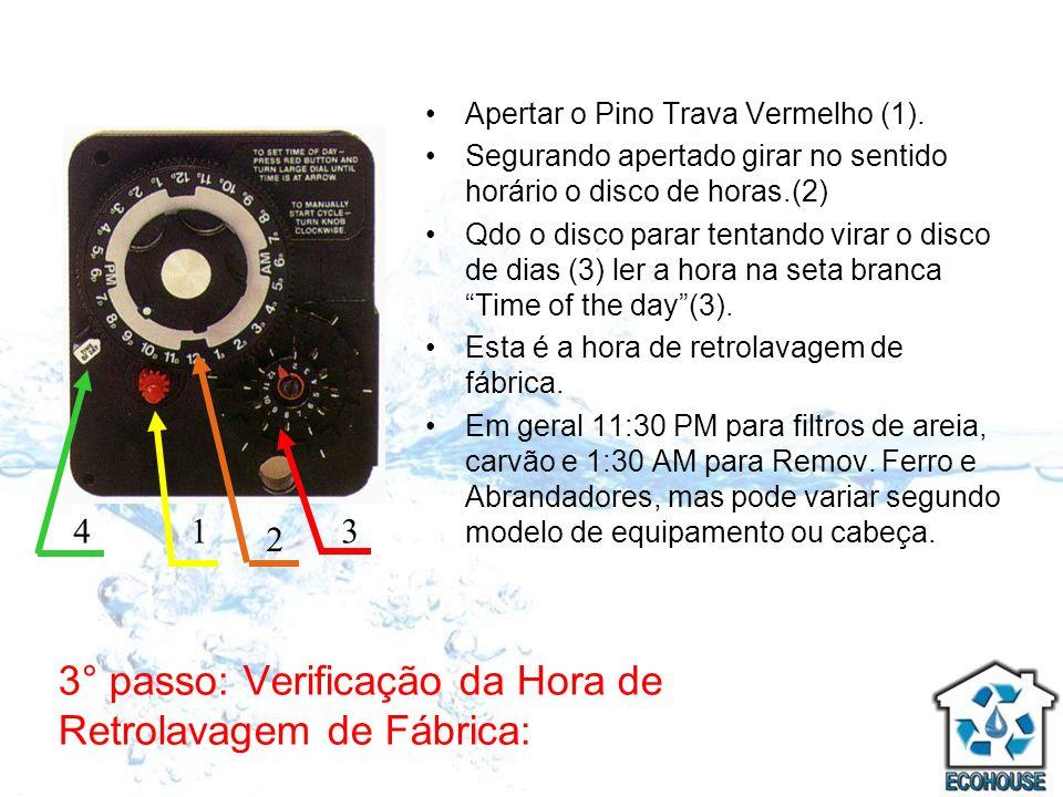 3° passo: Verificação da Hora de Retrolavagem de Fábrica: Apertar o Pino Trava Vermelho (1). Segurando apertado girar no sentido horário o disco de ho