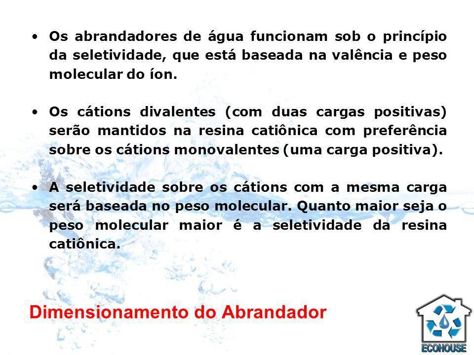 Dimensionamento do Abrandador Os abrandadores de água funcionam sob o princípio da seletividade, que está baseada na valência e peso molecular do íon.