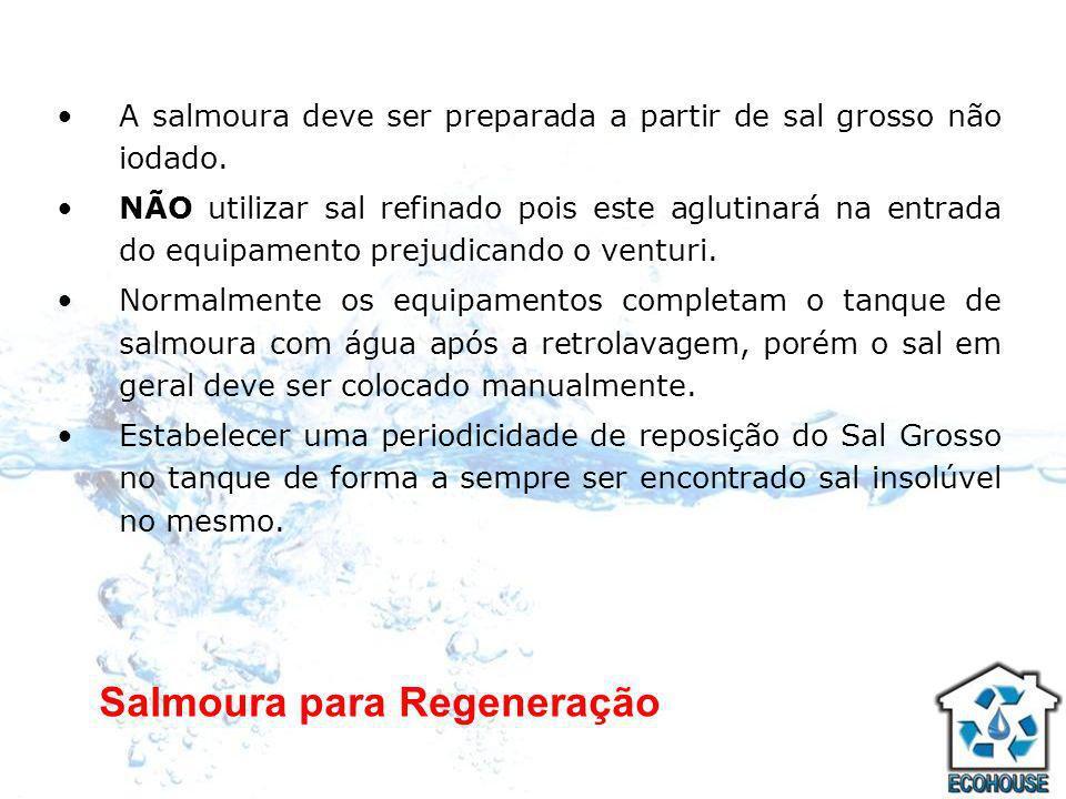 Salmoura para Regeneração A salmoura deve ser preparada a partir de sal grosso não iodado. NÃO utilizar sal refinado pois este aglutinará na entrada d