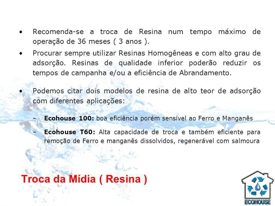 Troca da Mídia ( Resina ) Recomenda-se a troca de Resina num tempo máximo de operação de 36 meses ( 3 anos ). Procurar sempre utilizar Resinas Homogên
