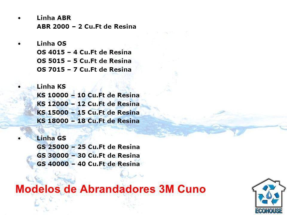 Modelos de Abrandadores 3M Cuno Linha ABR ABR 2000 – 2 Cu.Ft de Resina Linha OS OS 4015 – 4 Cu.Ft de Resina OS 5015 – 5 Cu.Ft de Resina OS 7015 – 7 Cu