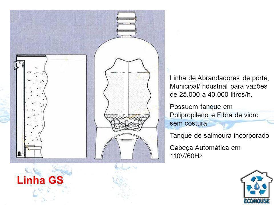 Linha GS Linha de Abrandadores de porte, Municipal/Industrial para vazões de 25.000 a 40.000 litros/h. Possuem tanque em Polipropileno e Fibra de vidr