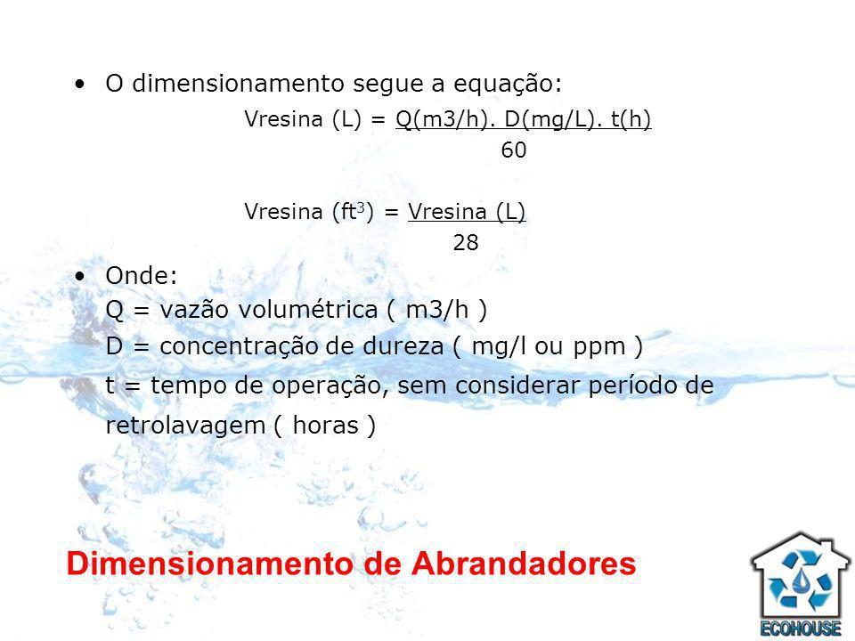 Dimensionamento de Abrandadores O dimensionamento segue a equação: Vresina (L) = Q(m3/h). D(mg/L). t(h) 60 Vresina (ft 3 ) = Vresina (L) 28 Onde: Q =