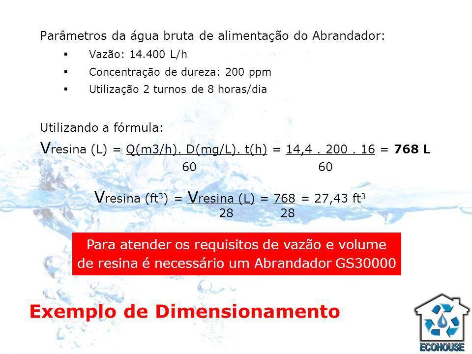 Exemplo de Dimensionamento Parâmetros da água bruta de alimentação do Abrandador: Vazão: 14.400 L/h Concentração de dureza: 200 ppm Utilização 2 turno