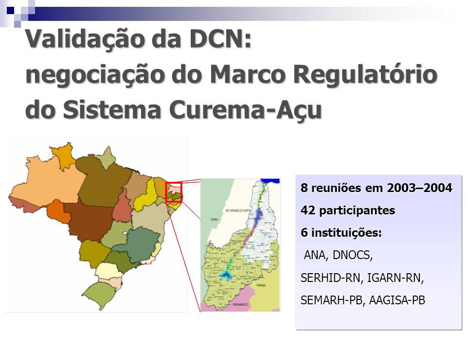 Validação da DCN: negociação do Marco Regulatório do Sistema Curema-Açu 8 reuniões em 2003–2004 42 participantes 6 instituições: ANA, DNOCS, ANA, DNOC