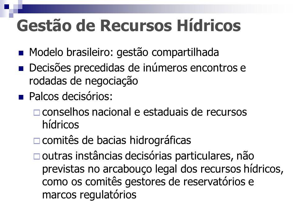 Gestão de Recursos Hídricos Modelo brasileiro: gestão compartilhada Decisões precedidas de inúmeros encontros e rodadas de negociação Palcos decisório