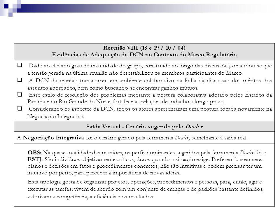 Reunião VIII (18 e 19 / 10 / 04) Evidências de Adequação da DCN no Contexto do Marco Regulatório Dado ao elevado grau de maturidade do grupo, construí