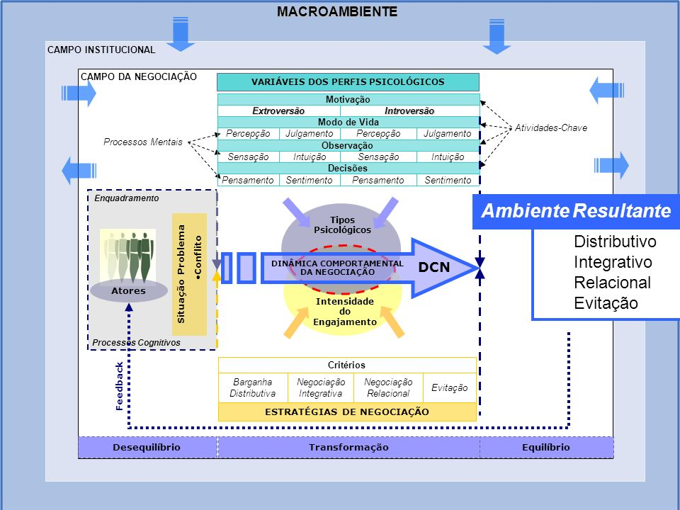 MACROAMBIENTE CAMPO INSTITUCIONAL Situação Problema Conflito Atores Desequilíbrio Enquadramento Processos Cognitivos Processos Mentais SentimentoPensa