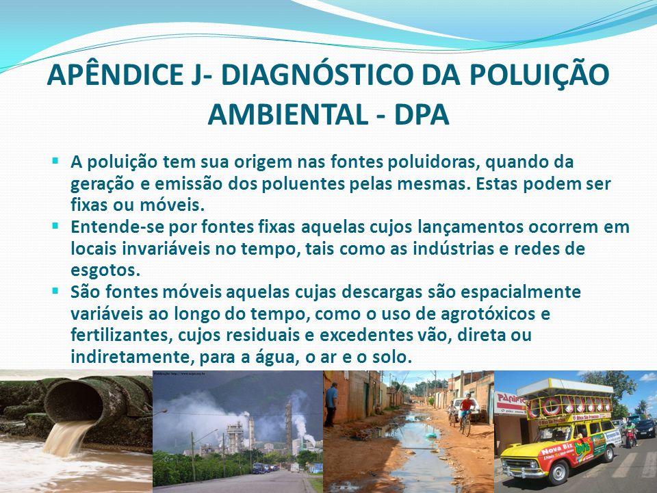 faperj.br APÊNDICE J- DIAGNÓSTICO DA POLUIÇÃO AMBIENTAL - DPA A poluição tem sua origem nas fontes poluidoras, quando da geração e emissão dos poluent
