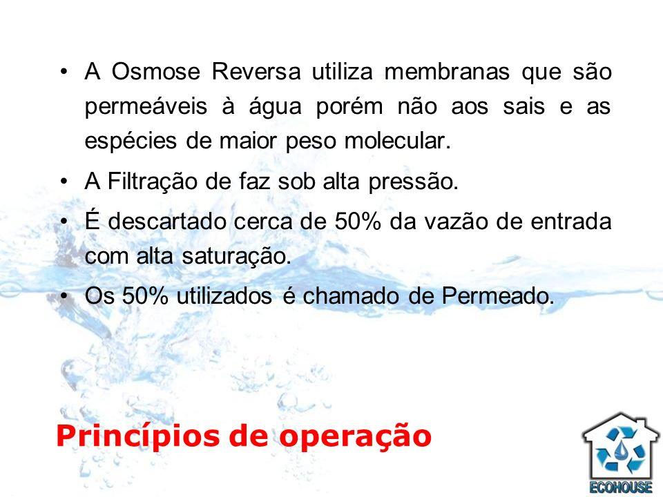 Princípios de operação A Osmose Reversa utiliza membranas que são permeáveis à água porém não aos sais e as espécies de maior peso molecular. A Filtra