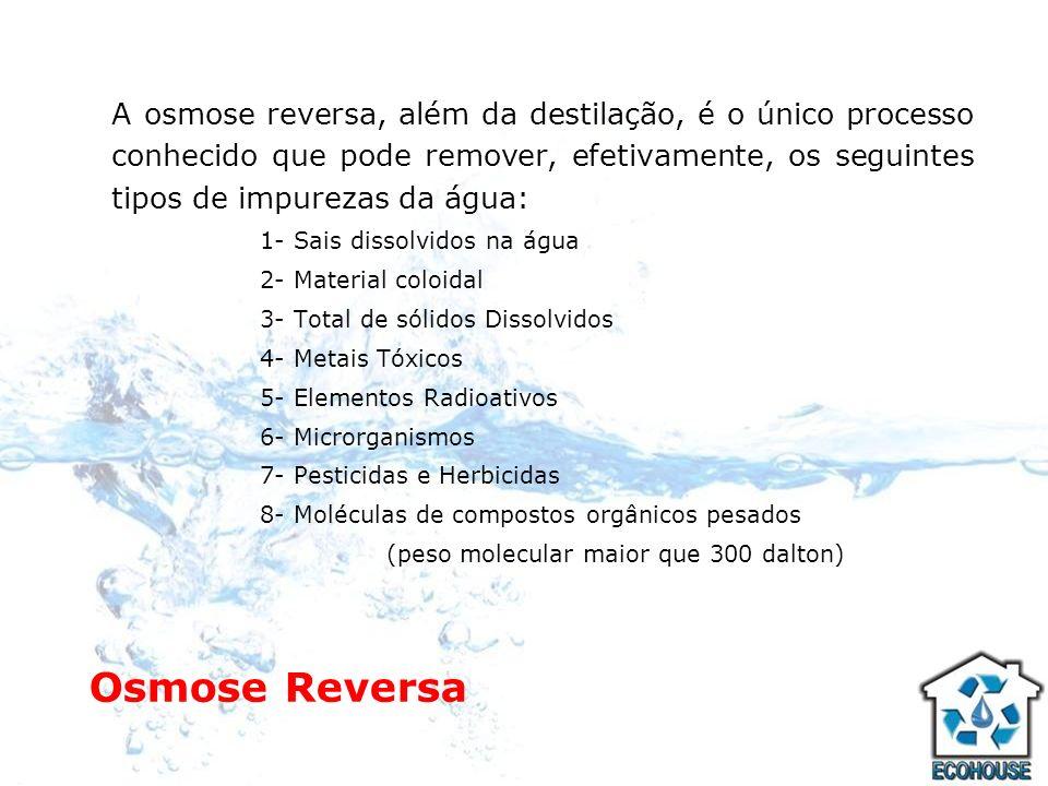 Osmose Reversa A osmose reversa, além da destilação, é o único processo conhecido que pode remover, efetivamente, os seguintes tipos de impurezas da á