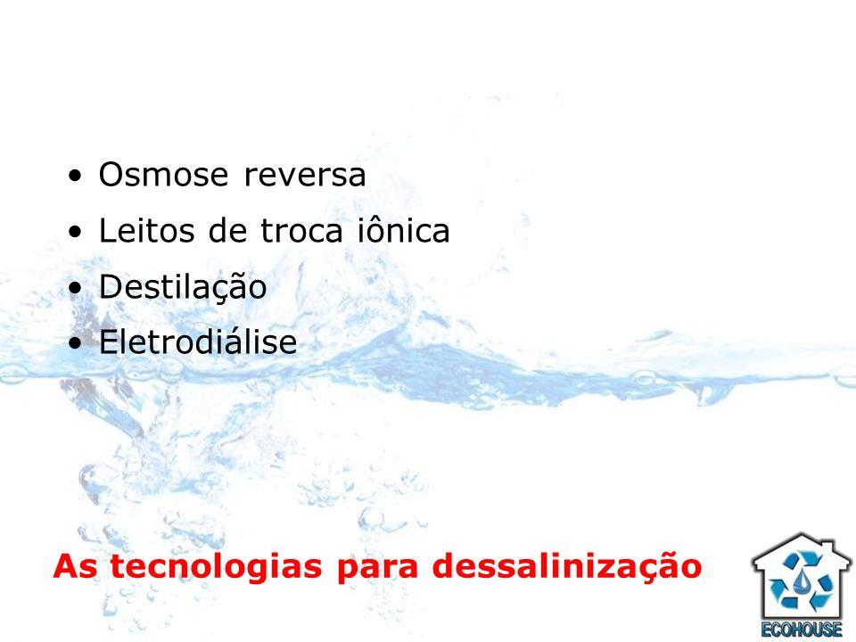 As tecnologias para dessalinização Osmose reversa Leitos de troca iônica Destilação Eletrodiálise