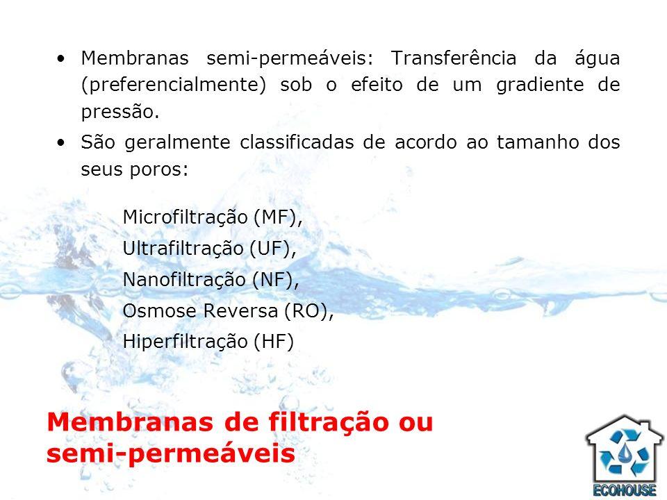 Membranas de filtração ou semi-permeáveis Membranas semi-permeáveis: Transferência da água (preferencialmente) sob o efeito de um gradiente de pressão