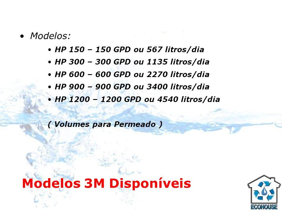 Modelos 3M Disponíveis Modelos: HP 150 – 150 GPD ou 567 litros/dia HP 300 – 300 GPD ou 1135 litros/dia HP 600 – 600 GPD ou 2270 litros/dia HP 900 – 90