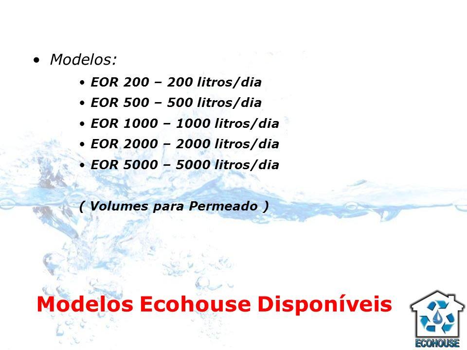 Modelos Ecohouse Disponíveis Modelos: EOR 200 – 200 litros/dia EOR 500 – 500 litros/dia EOR 1000 – 1000 litros/dia EOR 2000 – 2000 litros/dia EOR 5000