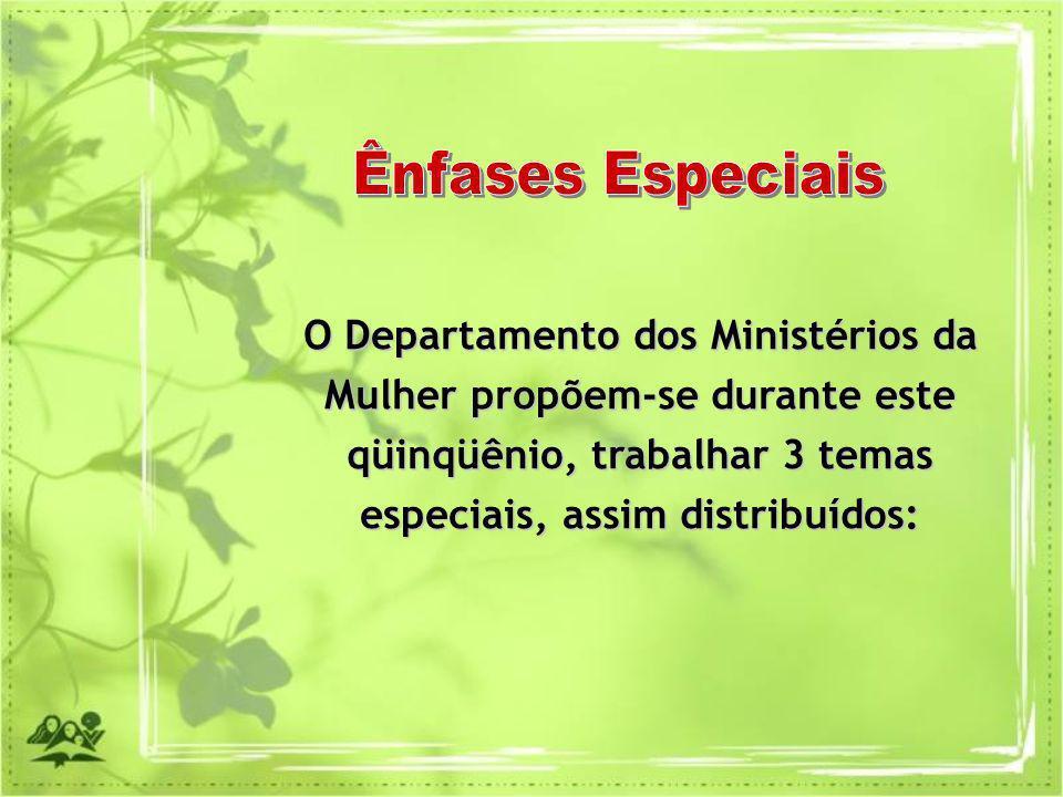 O Departamento dos Ministérios da Mulher propõem-se durante este qüinqüênio, trabalhar 3 temas especiais, assim distribuídos: