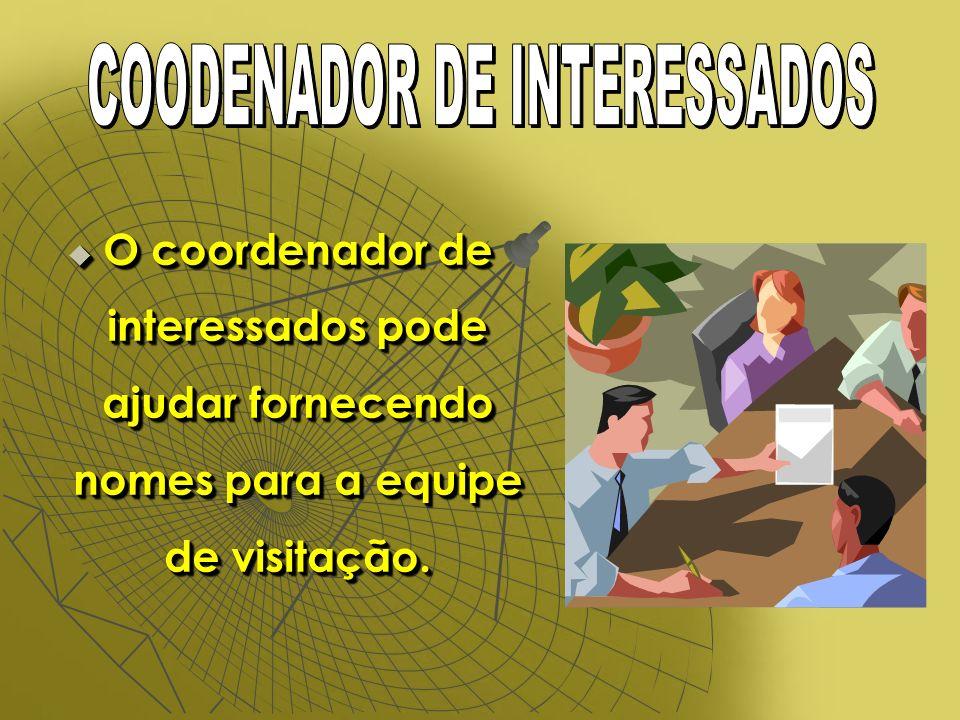 O coordenador de interessados pode ajudar fornecendo nomes para a equipe de visitação.