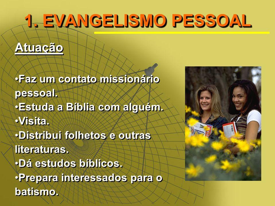 1. EVANGELISMO PESSOAL Atuação Faz um contato missionário pessoal.