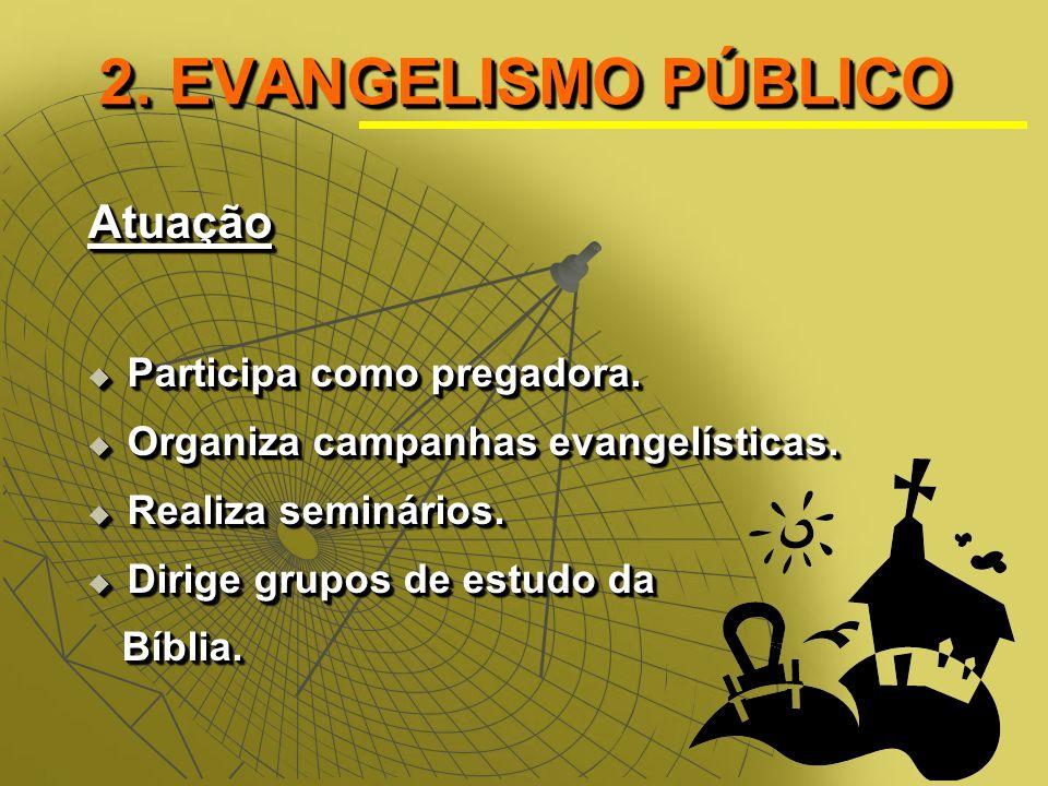2.EVANGELISMO PÚBLICO Atuação Participa como pregadora.
