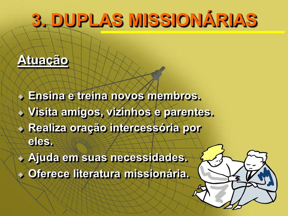 3.DUPLAS MISSIONÁRIAS Atuação Ensina e treina novos membros.
