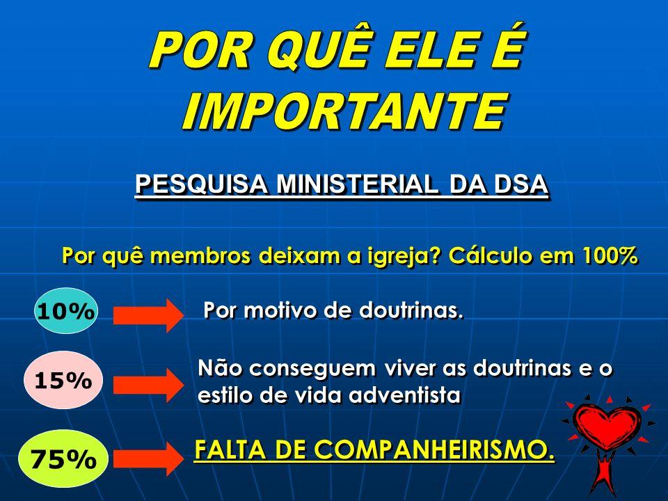 PESQUISA MINISTERIAL DA DSA Por quê membros deixam a igreja? Cálculo em 100% 10% 15% 75% Por motivo de doutrinas. Não conseguem viver as doutrinas e o