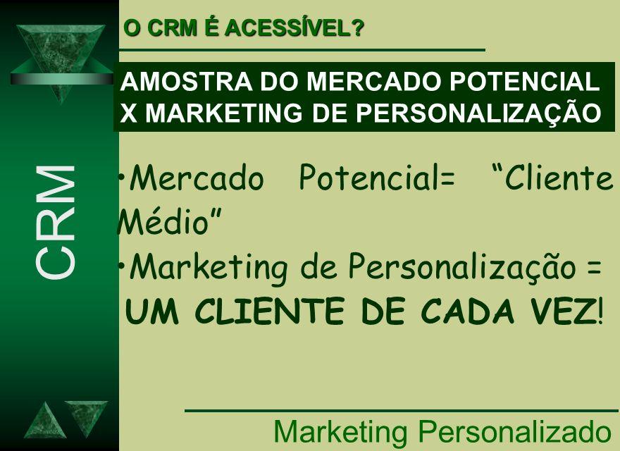 Marketing Personalizado CRM O CRM É ACESSÍVEL? AMOSTRA DO MERCADO POTENCIAL X MARKETING DE PERSONALIZAÇÃO Mercado Potencial= Cliente Médio Marketing d
