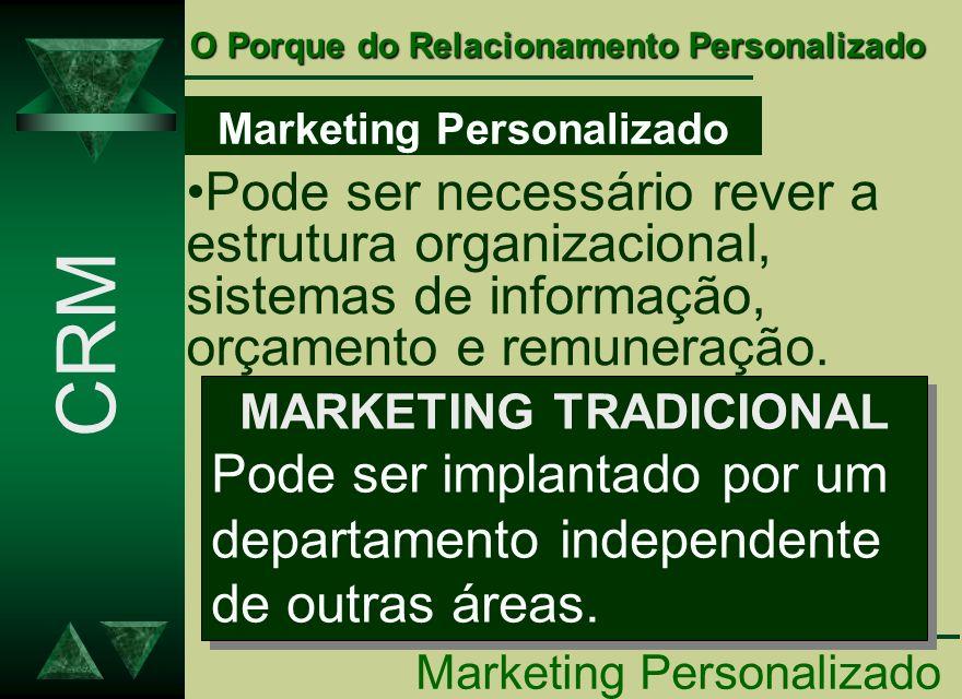 Marketing Personalizado Pode ser necessário rever a estrutura organizacional, sistemas de informação, orçamento e remuneração. MARKETING TRADICIONAL P