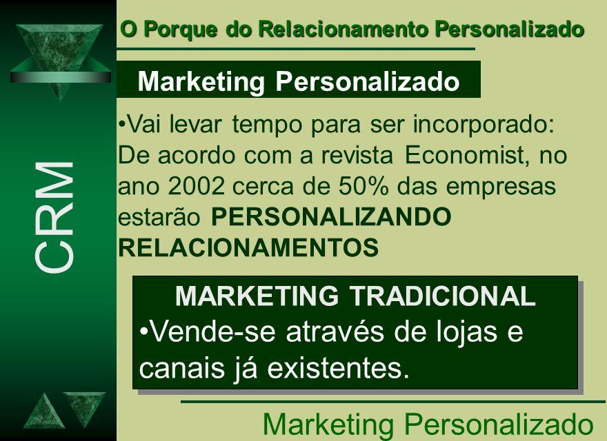 Marketing Personalizado Vai levar tempo para ser incorporado: De acordo com a revista Economist, no ano 2002 cerca de 50% das empresas estarão PERSONA