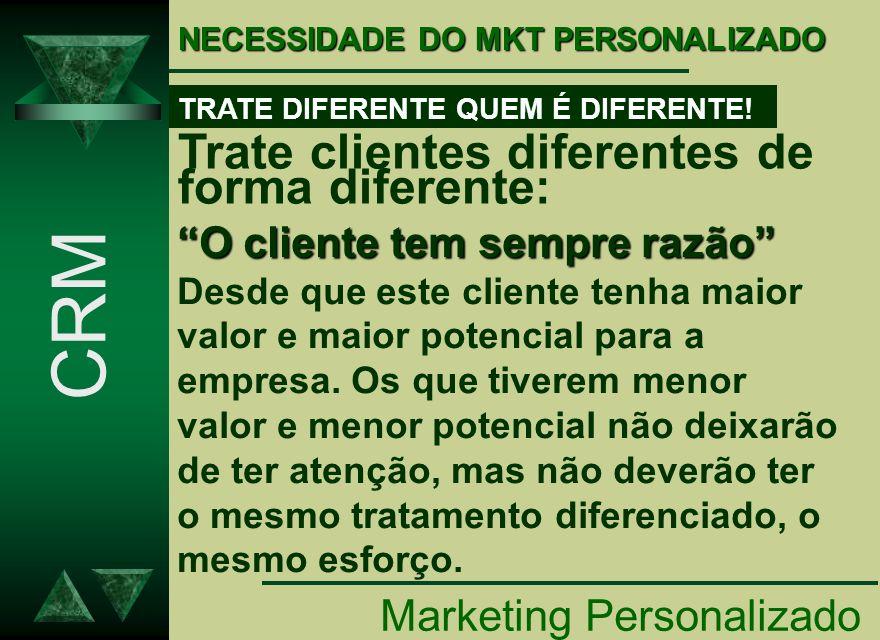 NECESSIDADE DO MKT PERSONALIZADO Marketing Personalizado CRM TRATE DIFERENTE QUEM É DIFERENTE! Trate clientes diferentes de forma diferente: O cliente
