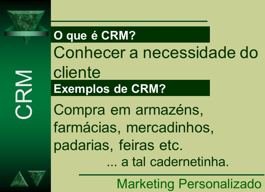 O que é CRM? Marketing Personalizado Conhecer a necessidade do cliente CRM Exemplos de CRM? Compra em armazéns, farmácias, mercadinhos, padarias, feir