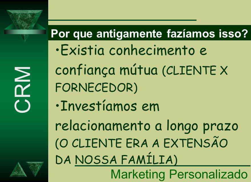 NECESSIDADE DO MKT PERSONALIZADO Marketing Personalizado CRM TRATE DIFERENTE QUEM É DIFERENTE.