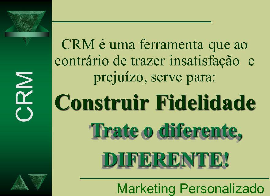 CRM é uma ferramenta que ao contrário de trazer insatisfação e prejuízo, serve para: Construir Fidelidade Marketing Personalizado Trate o diferente, D