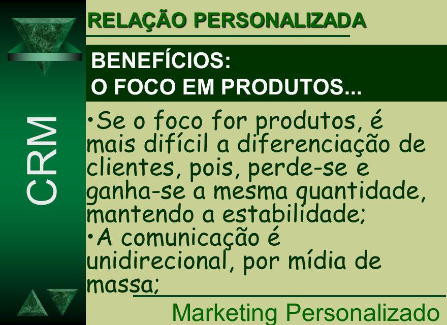 BENEFÍCIOS: O FOCO EM PRODUTOS... Marketing Personalizado CRM Se o foco for produtos, é mais difícil a diferenciação de clientes, pois, perde-se e gan