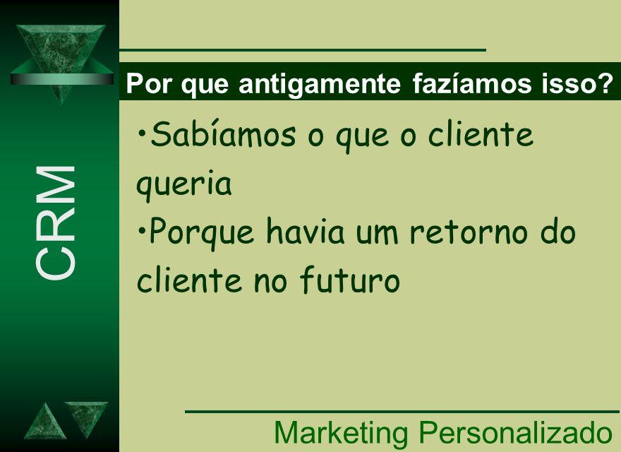 Por que antigamente fazíamos isso? Marketing Personalizado CRM Sabíamos o que o cliente queria Porque havia um retorno do cliente no futuro