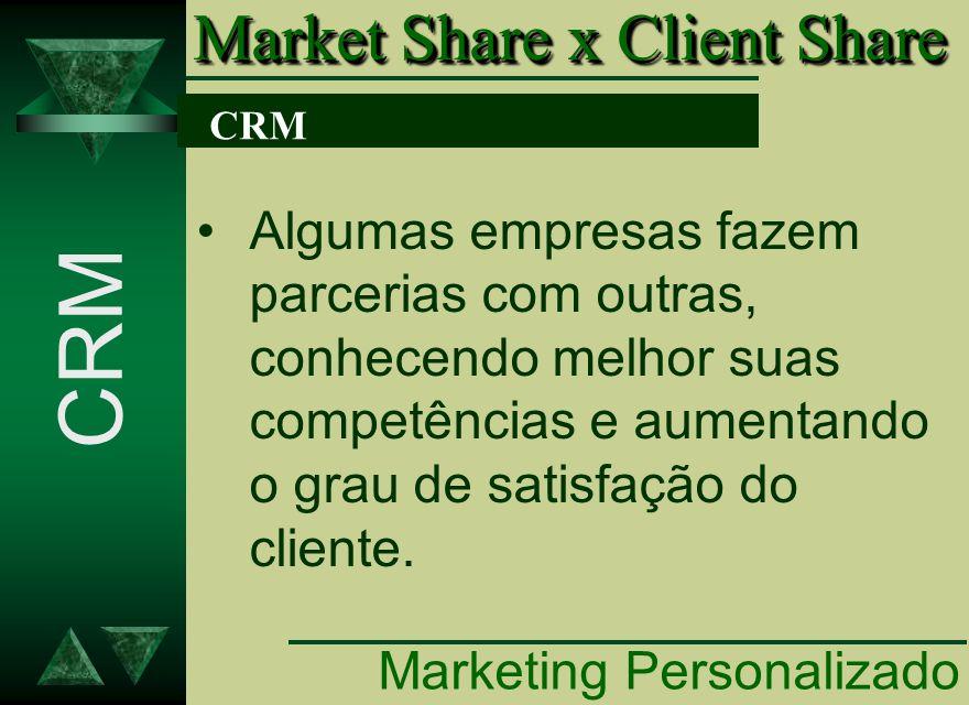 CRM Algumas empresas fazem parcerias com outras, conhecendo melhor suas competências e aumentando o grau de satisfação do cliente. CRM Market Share x