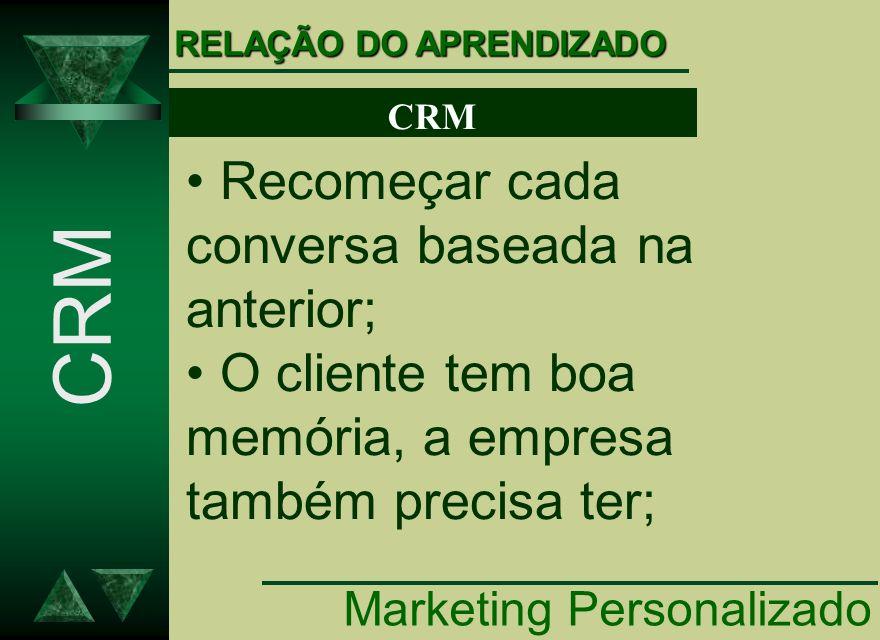 Recomeçar cada conversa baseada na anterior; O cliente tem boa memória, a empresa também precisa ter; CRM RELAÇÃO DO APRENDIZADO Marketing Personaliza