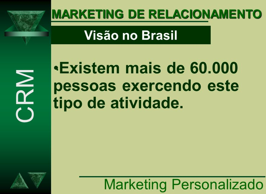 MARKETING DE RELACIONAMENTO.. Existem mais de 60.000 pessoas exercendo este tipo de atividade. CRM Visão no Brasil.. Marketing Personalizado