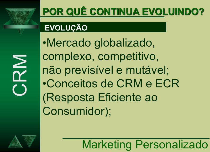 POR QUÊ CONTINUA EVOLUINDO? CRM Mercado globalizado, complexo, competitivo, não previsível e mutável; Conceitos de CRM e ECR (Resposta Eficiente ao Co