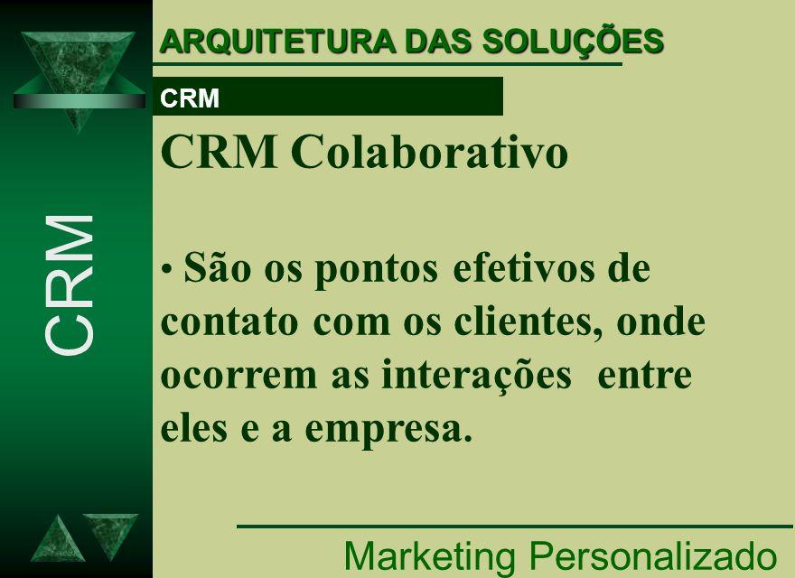 Marketing Personalizado CRM ARQUITETURA DAS SOLUÇÕES CRM Colaborativo São os pontos efetivos de contato com os clientes, onde ocorrem as interações en
