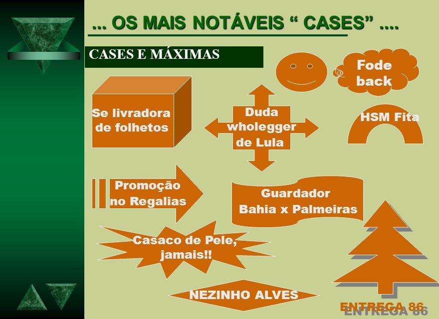... OS MAIS NOTÁVEIS CASES.... CASES E MÁXIMAS Fode back Duda wholegger de Lula Se livradora de folhetos Promoção no Regalias HSM Fita Guardador Bahia