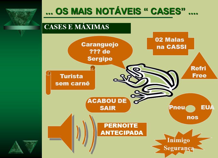 ... OS MAIS NOTÁVEIS CASES.... CASES E MÁXIMAS Caranguejo ??? de Sergipe Turista sem carnê 02 Malas na CASSI Pneu EUA nos Refri Free PERNOITE ANTECIPA