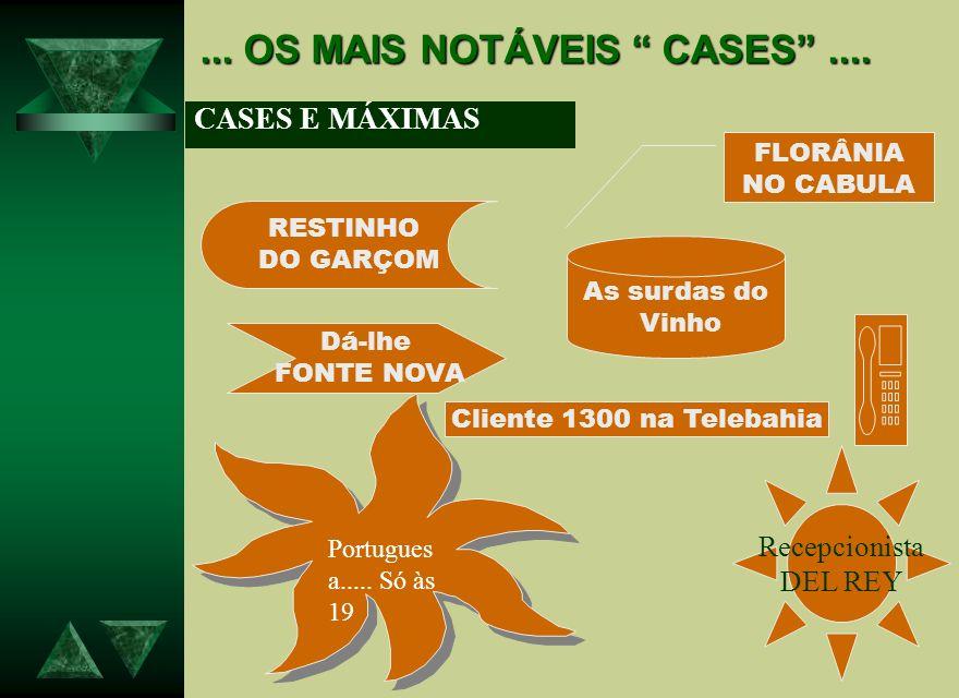 ... OS MAIS NOTÁVEIS CASES.... CASES E MÁXIMAS RESTINHO DO GARÇOM FLORÂNIA NO CABULA As surdas do Vinho Dá-lhe FONTE NOVA Cliente 1300 na Telebahia Po
