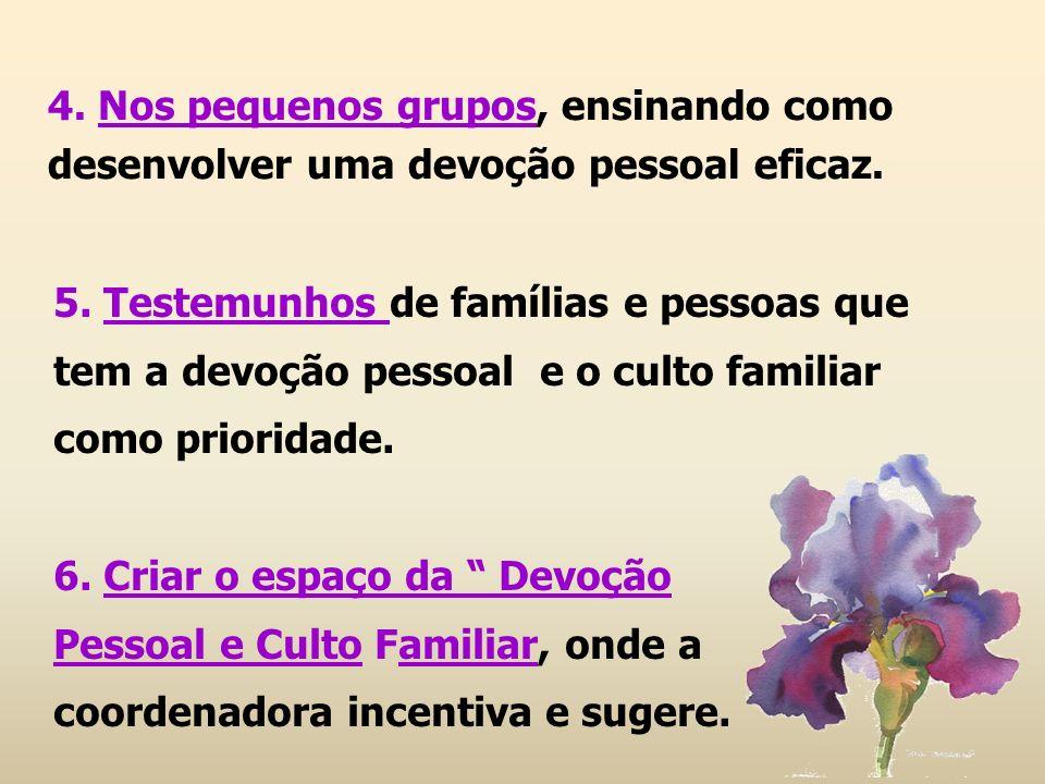5. Testemunhos de famílias e pessoas que tem a devoção pessoal e o culto familiar como prioridade. 6. Criar o espaço da Devoção Pessoal e Culto Famili