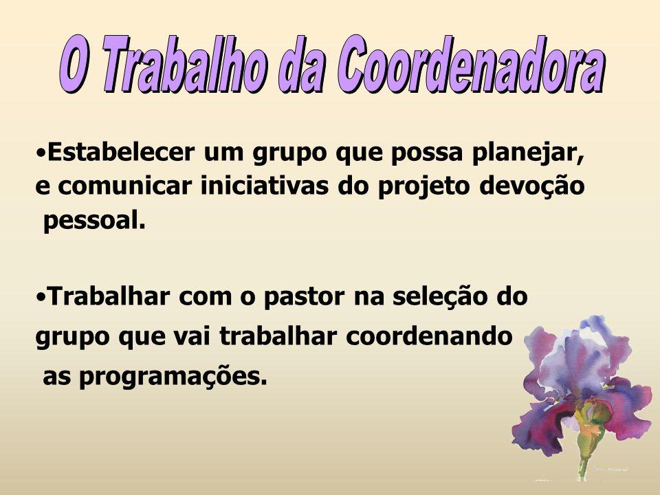 Estabelecer um grupo que possa planejar, e comunicar iniciativas do projeto devoção pessoal. Trabalhar com o pastor na seleção do grupo que vai trabal