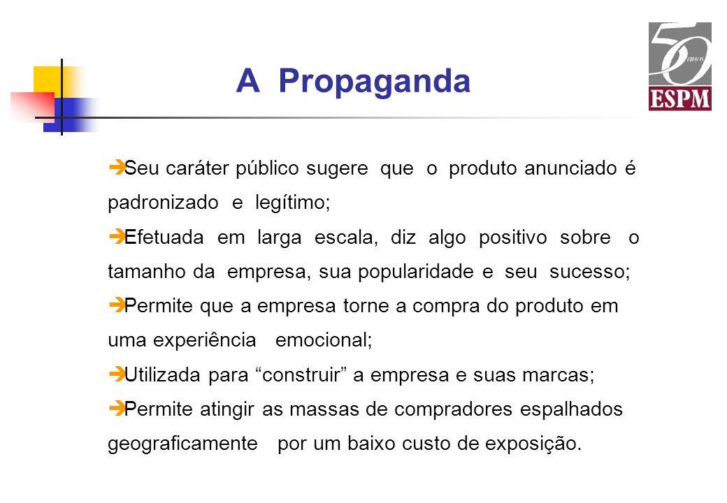 A Propaganda è Seu caráter público sugere que o produto anunciado é padronizado e legítimo; è Efetuada em larga escala, diz algo positivo sobre o tama