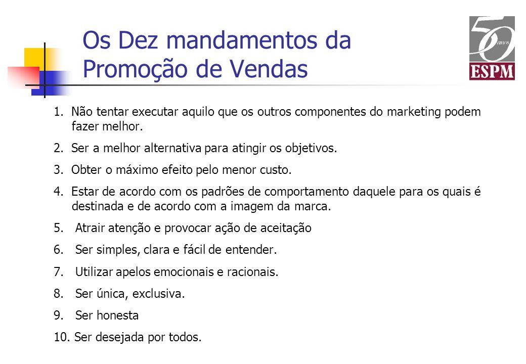 Os Dez mandamentos da Promoção de Vendas 1. Não tentar executar aquilo que os outros componentes do marketing podem fazer melhor. 2. Ser a melhor alte